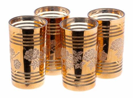 купить Набор из четырёх стаканов с декором в виде роз, стекло, золочение, Чехия, 1990-2000 гг.