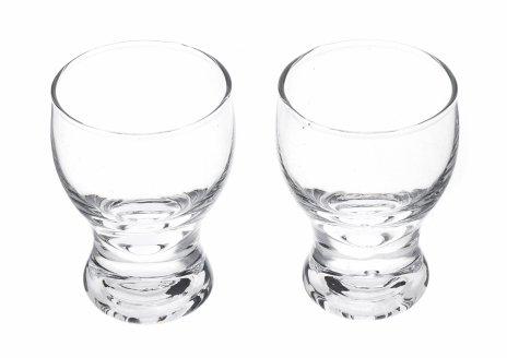 купить Набор из двух стеклянных стопок для крепких напитков лаконичной формы с рельефным дном, стекло,Чехословакия, 1970-1990 гг.