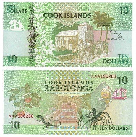 купить Острова Кука 10 долларов 1992 (Pick 8a)