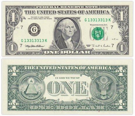 """купить США 1 доллар 1995 (Pick 496a) G-Чикаго """"FW"""" (Fort Worth) Красивый номер 13313313"""