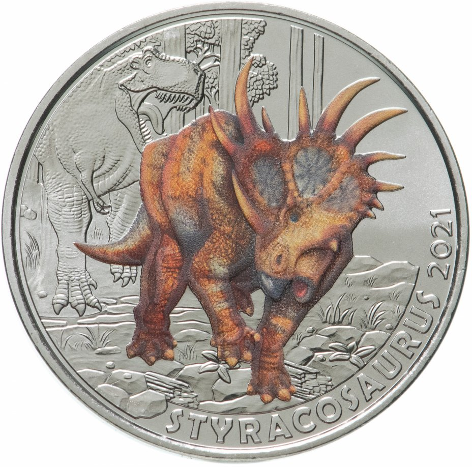 купить Австрия 3 евро 2021 Супер динозавры - Стиракозавр