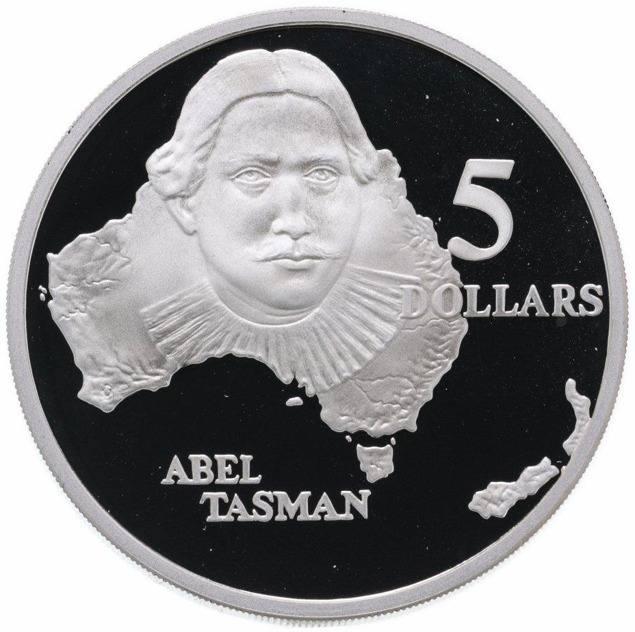 """купить Австралия 5 долларов 1993 """"Первооткрыватели - Абель Янсзон Тасман"""""""