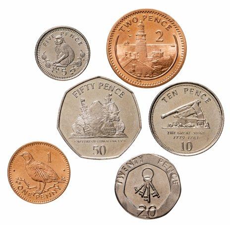 купить Гибралтар - набор 6 монет - 1, 2, 5,10, 20, 50 пенсов 2000-2013 год