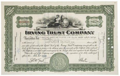 купить Акция США Irving Trust Company  1955 г.
