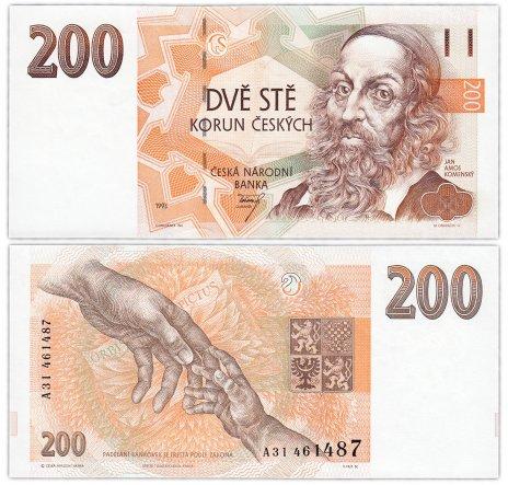 """купить Чехия 200 крон 1993 (Pick 6a) На защитной полосе надпись """"200 Kčs"""""""
