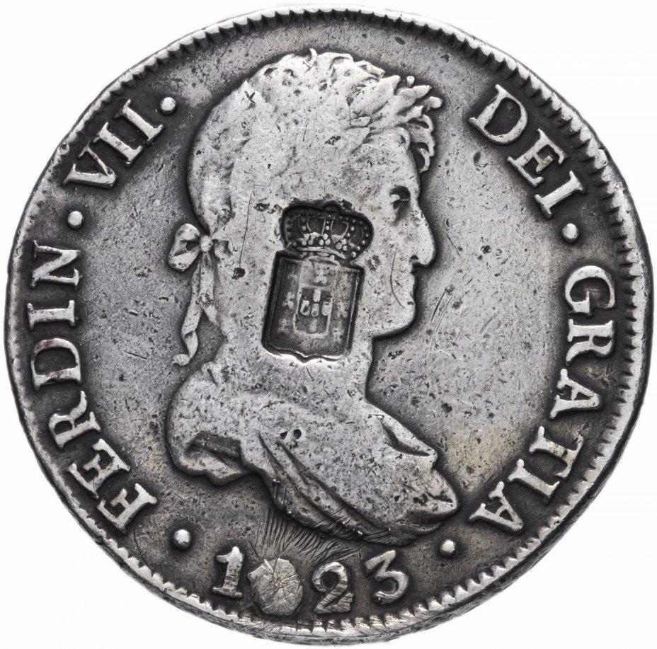купить Португалия 870 реалов (reis) 1834 без обозначения номинала и даты, надчекан на 8 реалах 1823 PJ вице-королевства Рио-де-ла-Плата