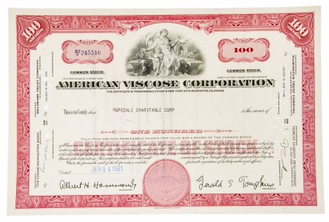 купить Акция США AMERICAN VISCOSE CORPORATION 1961 г.