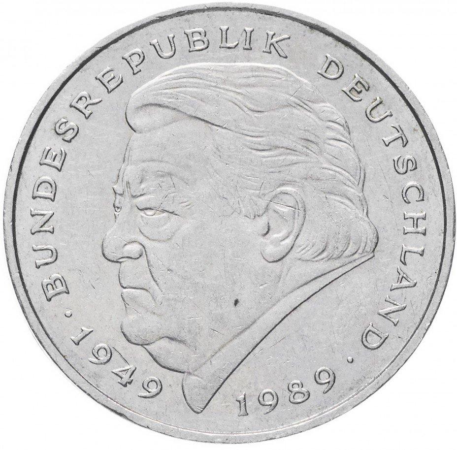 """купить Германия (ФРГ) 2 марки 1990-1995 """"Франц Йозеф Штраус, 40 лет Федеративной республике"""""""