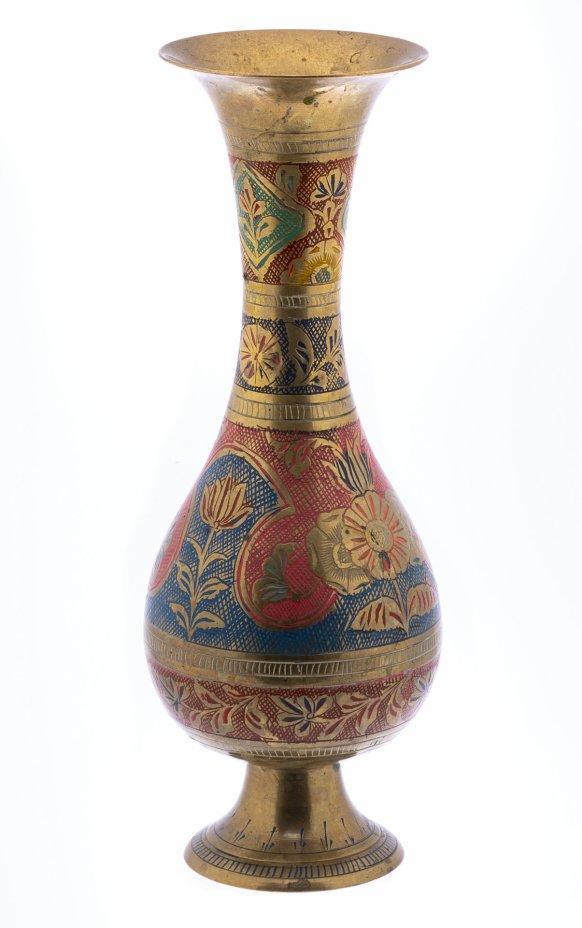 купить Ваза декоративная в восточном стиле с гравировкой в виде цветов, латунь, крашение, Индия, 1970-1990 гг.