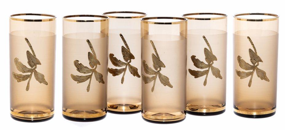 купить Набор из 6 стаканов с растительным декором, стекло, золочение, матирование, Чехия, 1990-2000 гг.