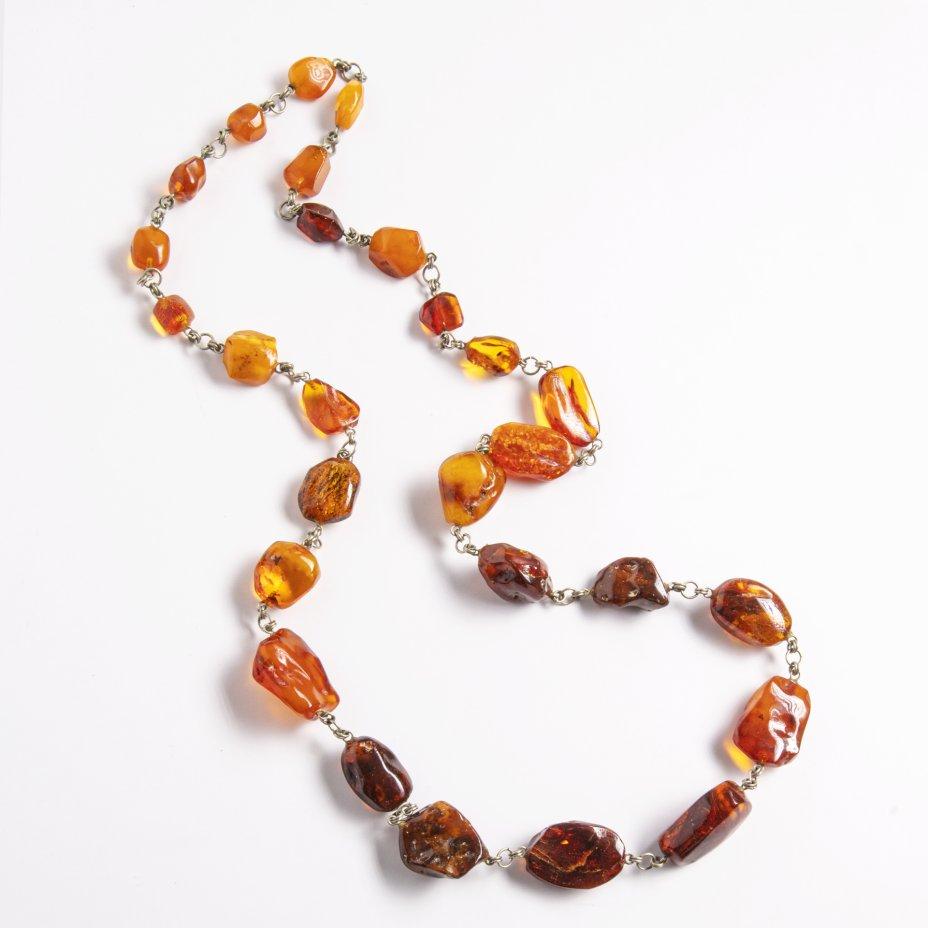 купить Ожерелье янтарное с бусинами различной формы и цвета, янтарь, сплав металла, СССР, 1970-1980 гг.