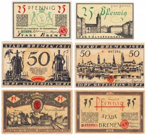 купить Германия (Бремен: Бремен) набор из 3-х нотгельдов 1921
