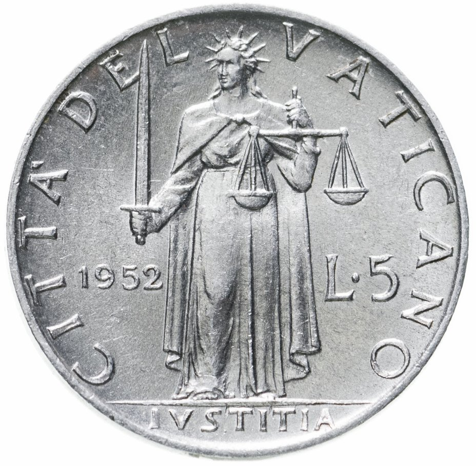 купить Ватикан 5 лир 1952