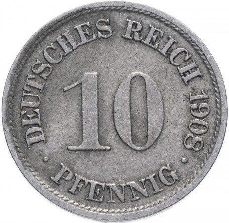 купить Германия (Германская Империя) 10 пфеннигов 1908 F