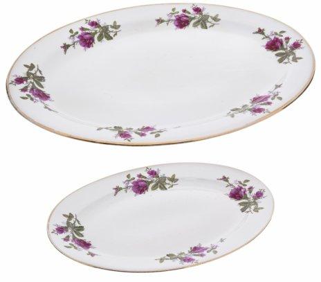 купить Набор из двух блюд вытянутой формы с декором в виде роз, фарфор, деколь, золочение, Китай, 1970-1990 гг.