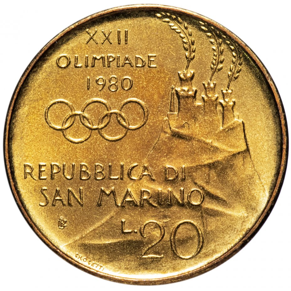 """купить Сан-Марино 20лир (lire) 1980   """"XXII летние Олимпийские Игры, Москва 1980"""""""