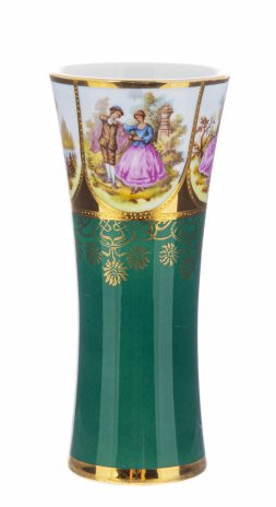 """купить Ваза для цветов  с галантными сценами, фарфор, деколь, мануфактура """"H&W Karlsbader Porzellan"""", Германия, 1900-1930 гг."""