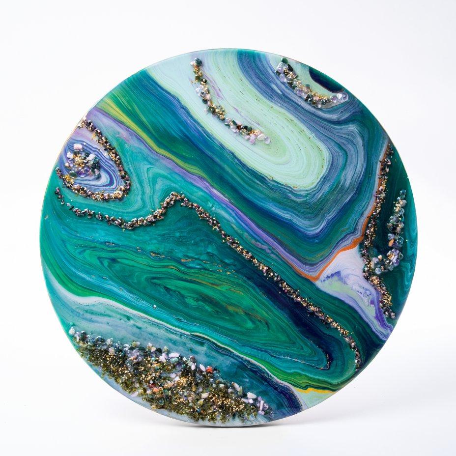 """купить Панно настенное """"Морская волна"""",  авторская ручная работа в технике Resin Art, глянцевое 3D покрытие, натуральный камень, стекло, Россия, 2021 г."""