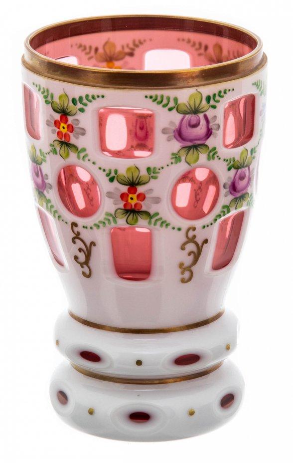 купить Ваза для цветов с растительным декором, стекло, роспись, Чехия, 1960-1980 гг.