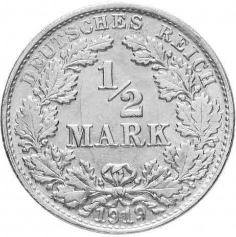 """купить Германия (Германская империя) 1/2 рейх марки 1919 """"D"""""""