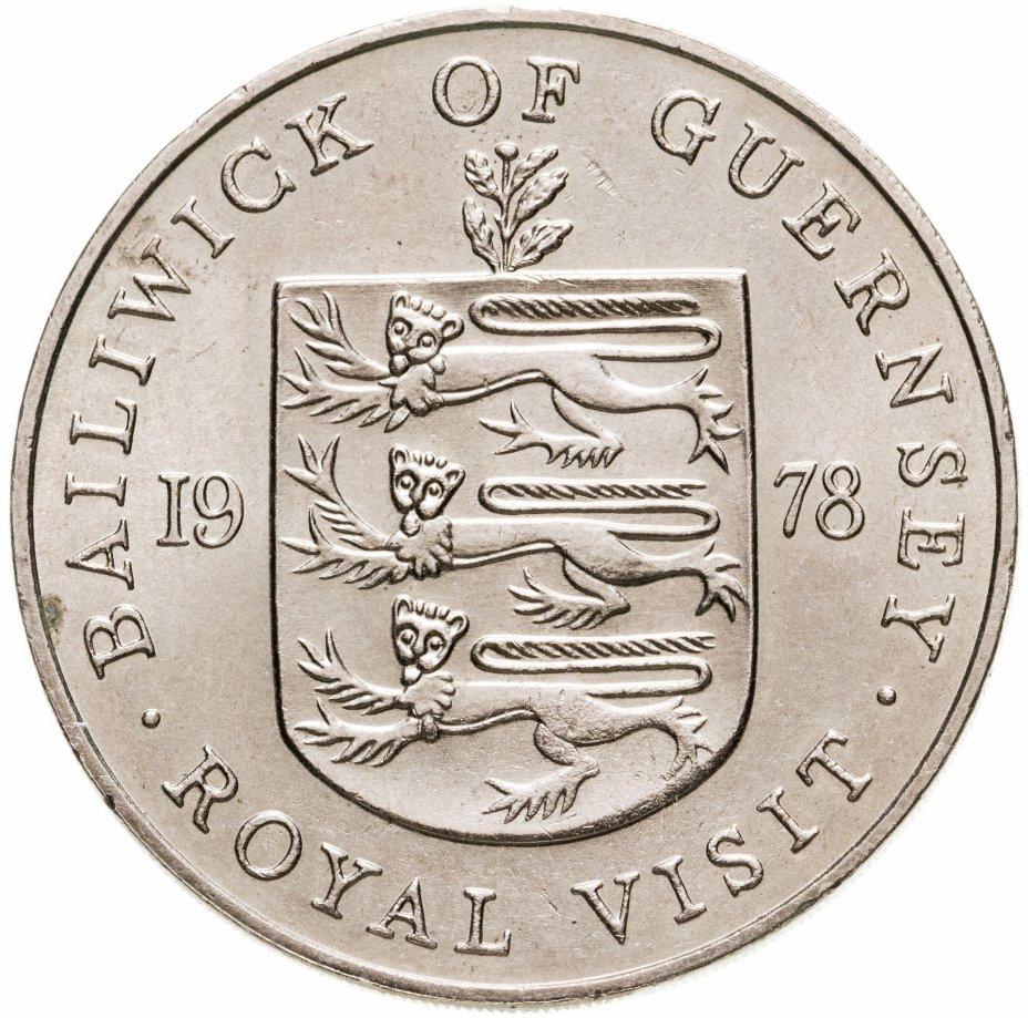 купить Остров Гернси 25 пенсов (pence) 1978 королевский визит