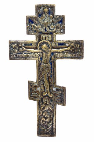 """купить Крест """"Распятие Христово"""" , полихромные эмали, медь, литье, Российская Империя, 1850-1890 гг."""