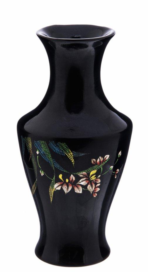 купить Ваза декоративная с изображениями растений и бабочек, папье-маше, лак,  Вьетнам, 1990-2000гг.