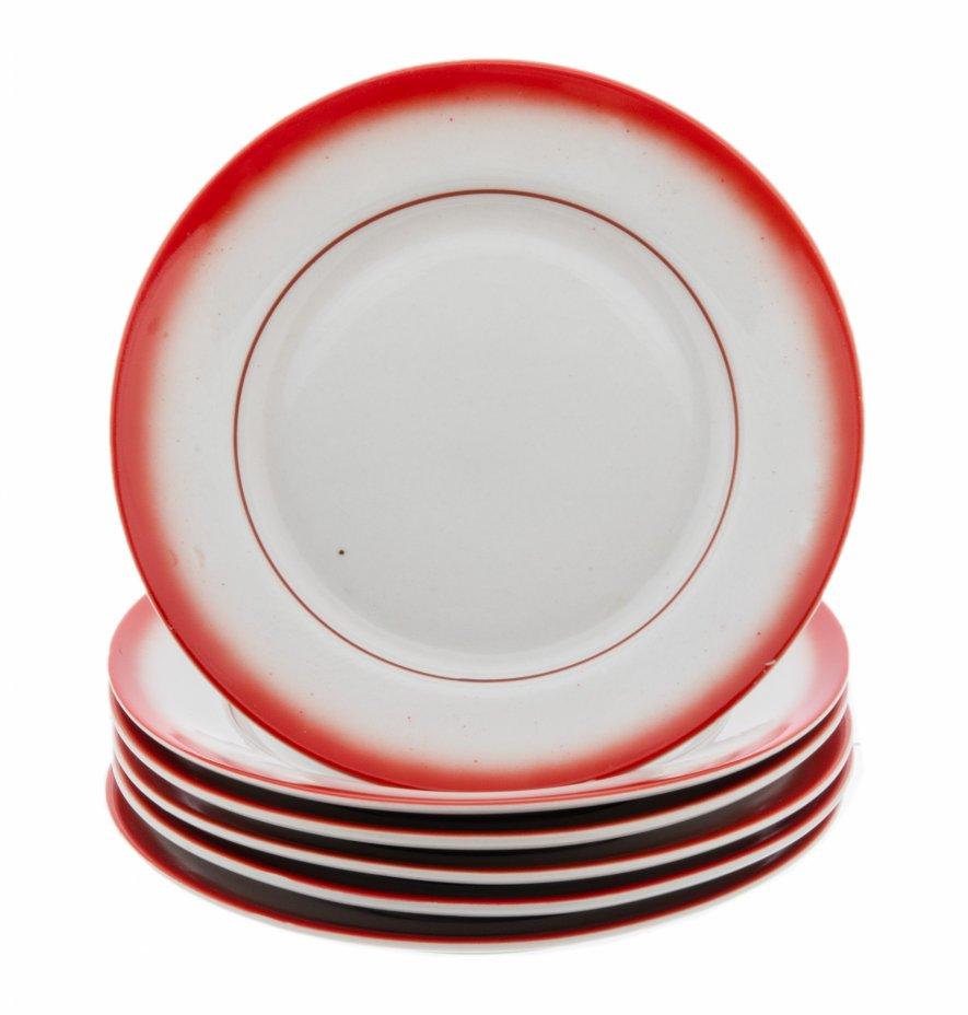 купить Набор пирожковых тарелок 6 персон, фарфор, крытьё, Туймазинский фарфоровый завод, г. Туймазы, СССР, 1979-1989 гг.