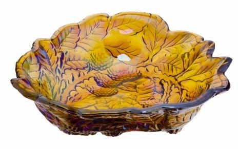 купить Ваза (конфетница) с рельефным растительным декором, цветное стекло, люстр, Китай, 1980-2000 гг.