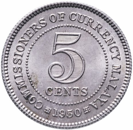 купить Малайя 5 центов (cents) 1950