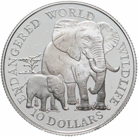 """купить Острова Кука 10 долларов (dollars) 1990 """"Вымирающие виды животных - африканский слон"""""""