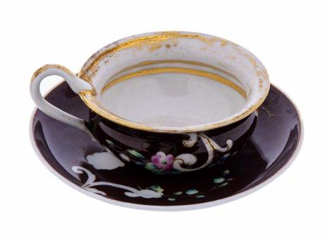 купить Пара чайная с цветочной росписью, фарфор, фабрика Гурышева Ивана Анисимовича, Российская Империя, 1860-1890 гг.