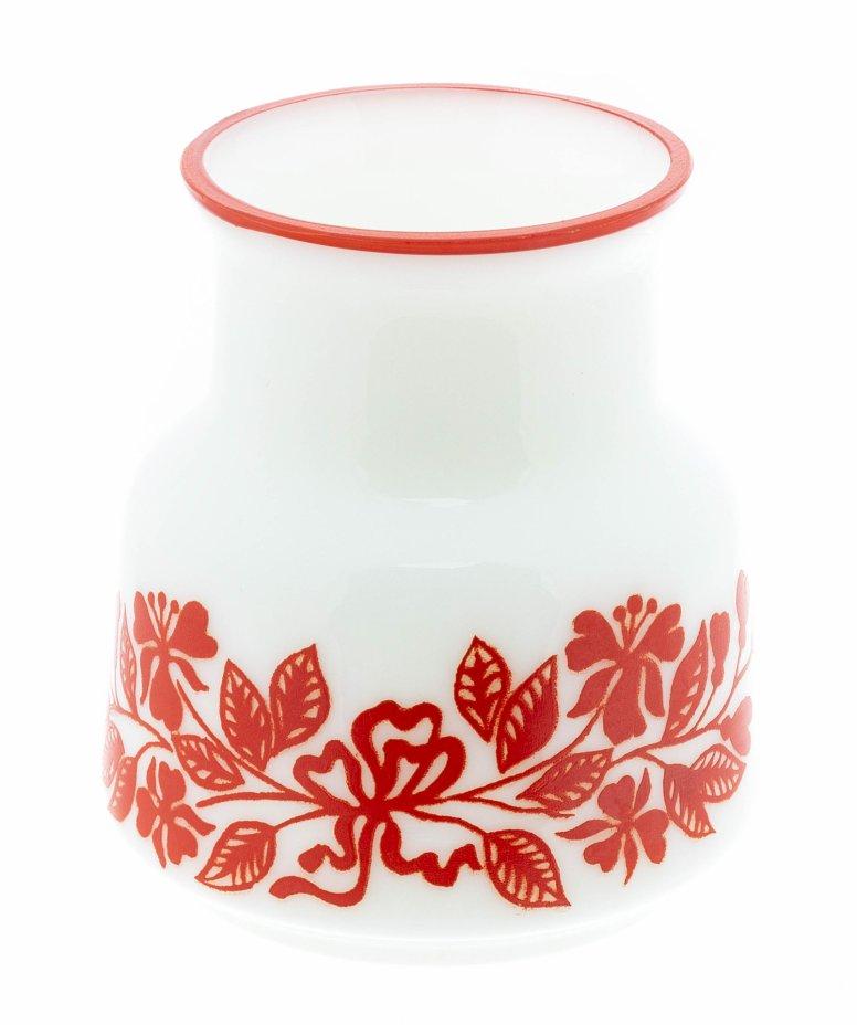 купить Ваза с цветочным декором, молочное стекло, деколь , СССР, 1960-1980 гг.