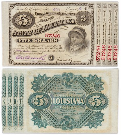 купить США 5 долларов 1886 Bond of the State of Louisiana с купонами