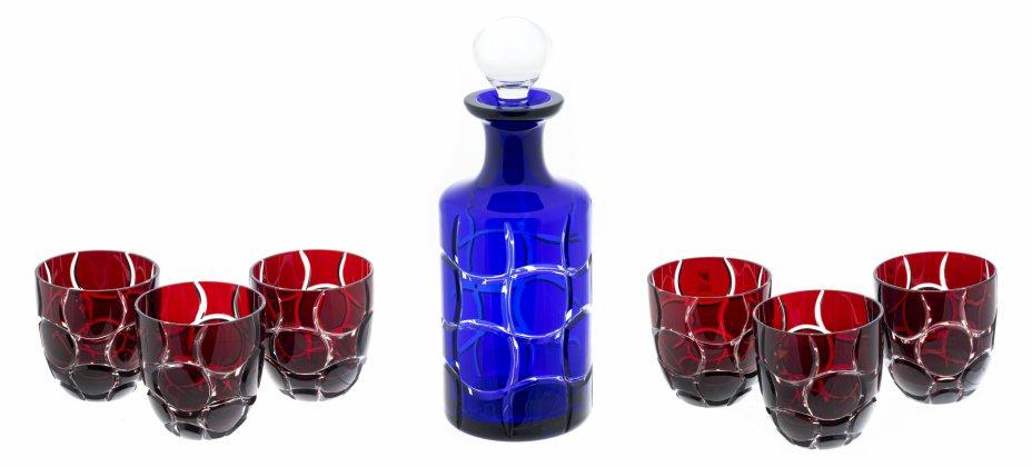 """купить Набор для напитков (Графин, 6 стаканов) с рельефным декором, цветной хрусталь, фирма """"Colle Vilca"""", Италия, 2000-2010 гг."""