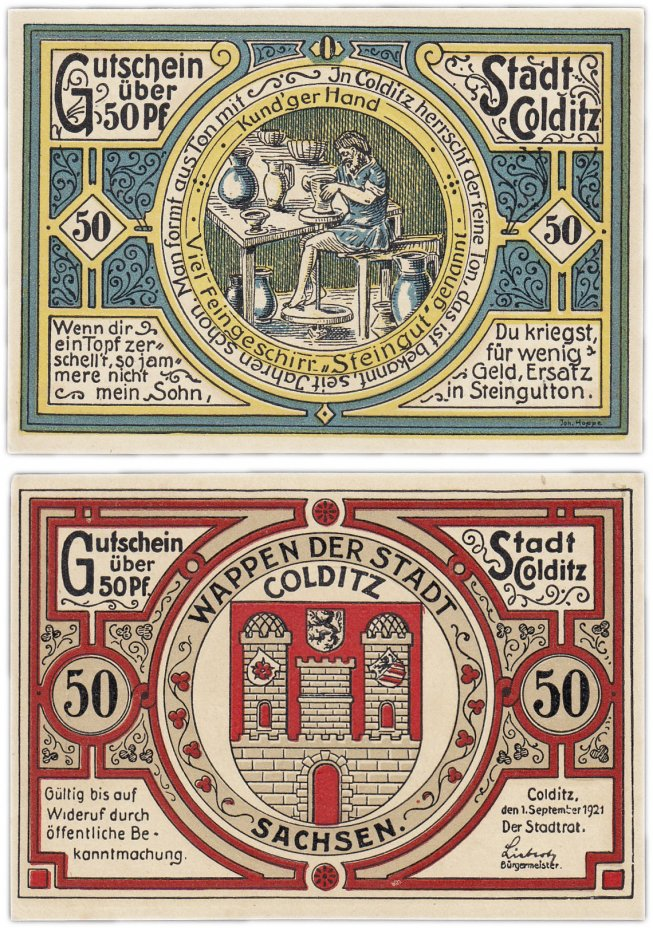 купить Германия (Саксония: Кольдиц) 50 пфеннигов 1921 (239.1/B1, тип O)