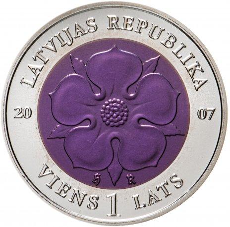 """купить Латвия 1 лат (lats) 2007 UNC """"Монета времени II """" с вставкой из ниобия в футляре с сертификатом"""