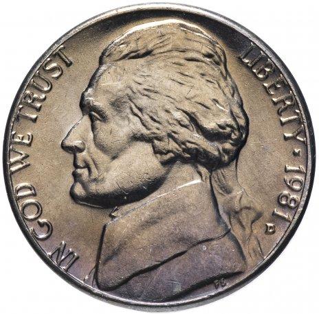 """купить США 5 центов (cents) 1981 D Jefferson Nickel (Джефферсон) знак монетного двора """"D"""""""