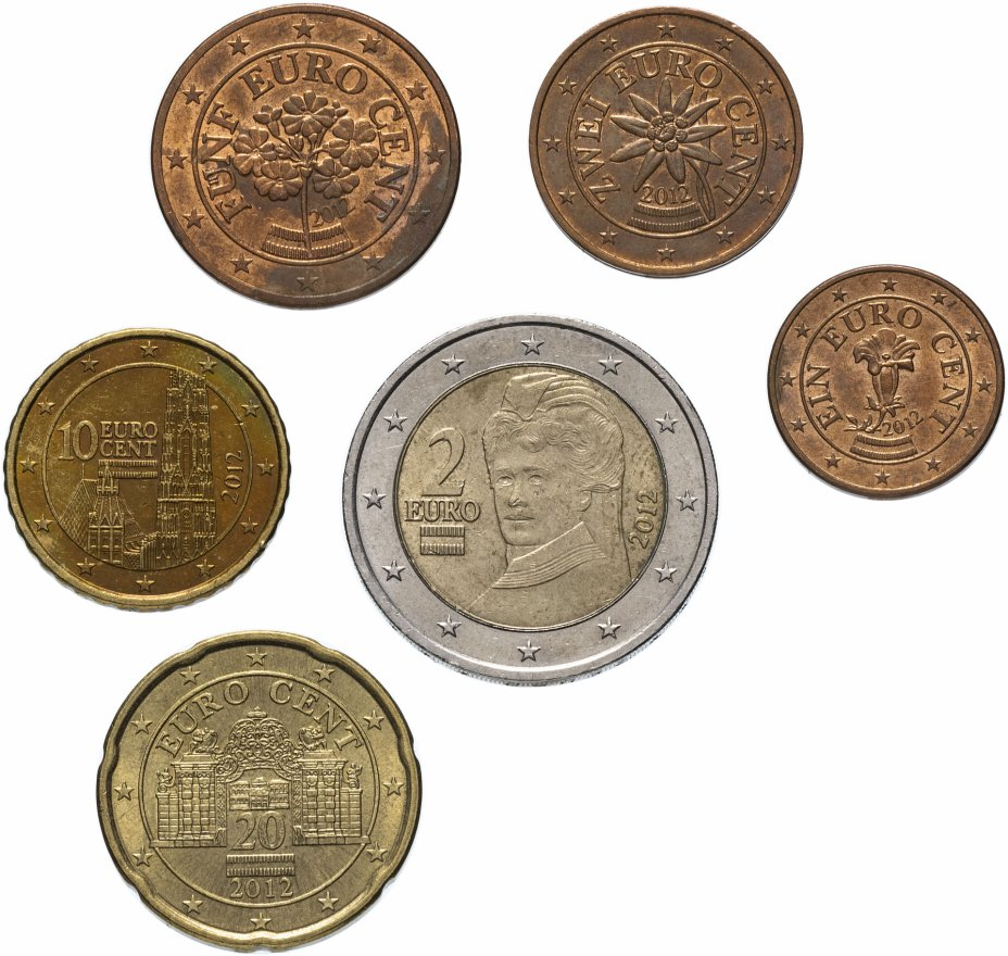 купить Австрия полный годовой набор евро для обращения 2012 (6 штук, VF-XF)