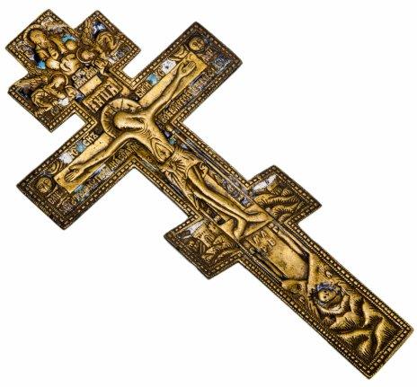 """купить Крест большой киотный """"Распятие Христово"""" с эмалью"""