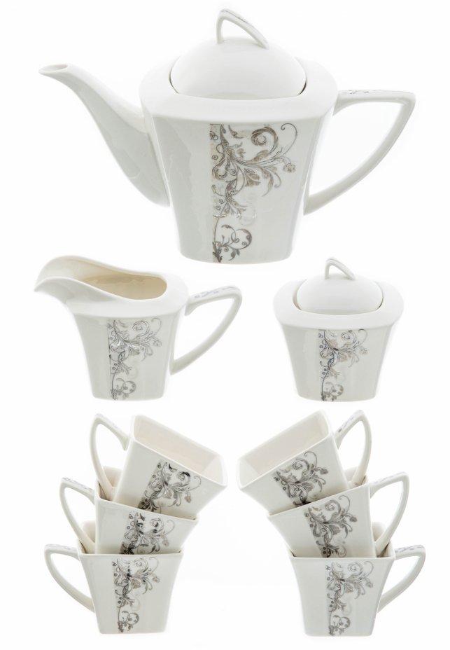 купить Чайный сервиз на 6 персон (9 предметов) с растительным декором, фарфор, Best Home Porcelain, Китай 2005-2015 гг.