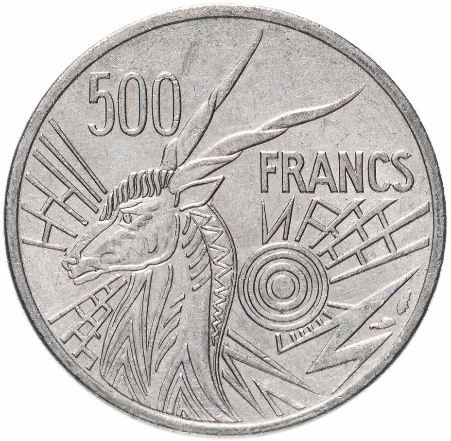 """купить Центральная Африка 500 франков 1984 Отметка на реверсе """"С"""""""
