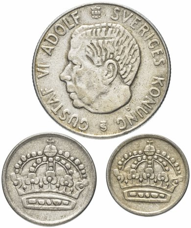 купить Швеция Набор монет из 3 монет 1 крона 25 , 10 эре 1955-1968 (случайный год)