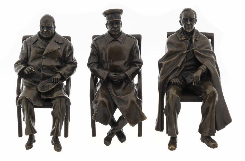 """купить Бронзовая миниатюра """"Ялтинская конференция 1945 - Черчилль, Рузвельт и Сталин"""", репродукция работы Лорьяна Пилета 1947, литье, Россия, 2020-2021 гг."""