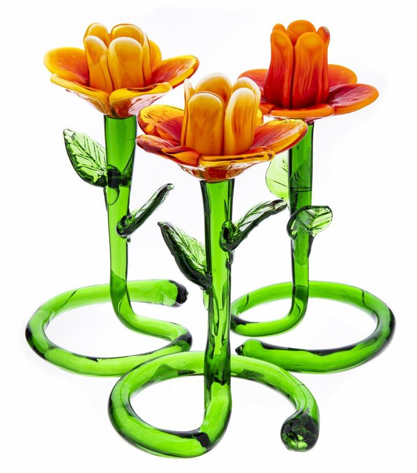 купить Набор из трех подсвечников в форме цветка, цветное стекло, Китай, 2000-2015 гг.