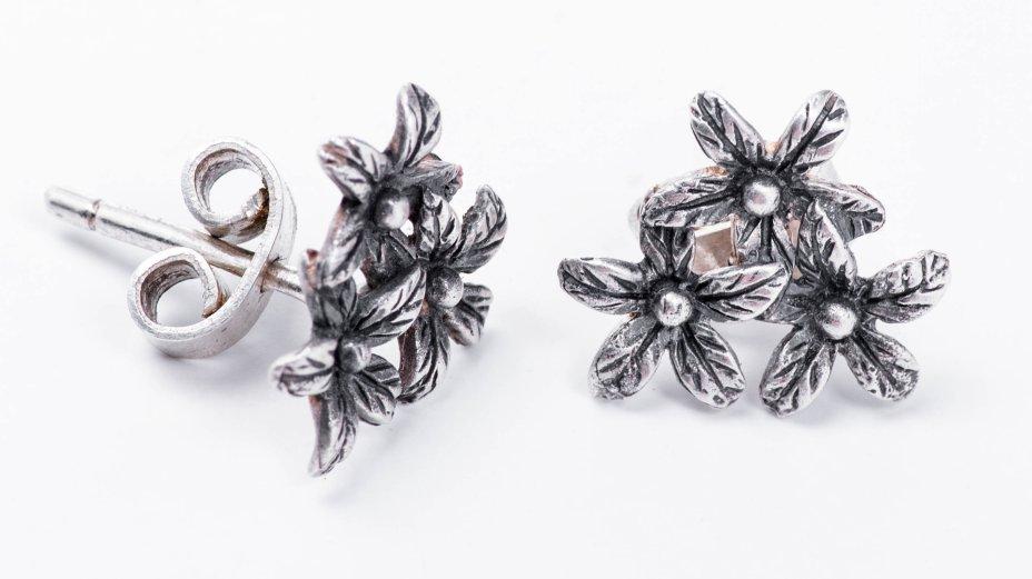 купить Серьги-пусеты (гвоздики) винтажные в форме цветков, серебро 916 пр., металл, СССР, 1970-1990 гг.