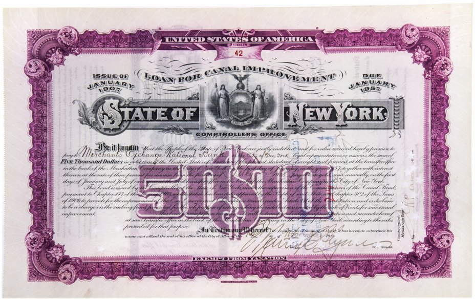 купить Акция США State of New York 1909 г.
