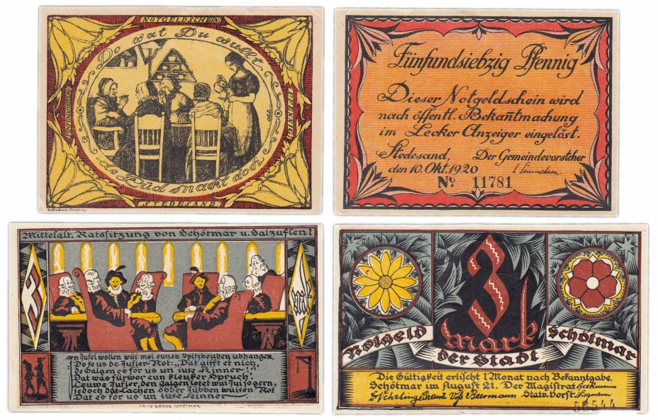 купить Германия (разные земли) набор из 2-х нотгельдов  1920-1921