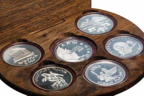 купить Армения, набор 6 серебряных коллекционных монет 1994 года в деревянном футляре