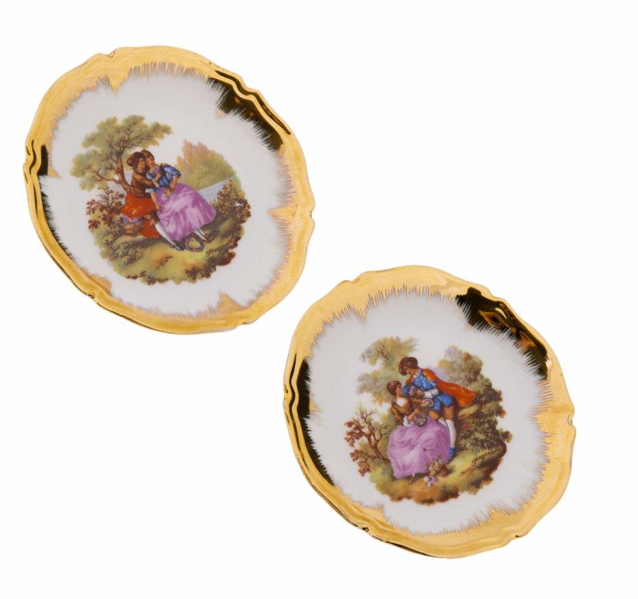 купить Набор из двух розеток с изображением галантных сцен, фарфор, деколь, золочение, Limoges, Франция, 1970-1990 гг.